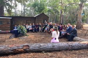 Outdoor wedding ceremony at the shack near Bruny Island Lodge.