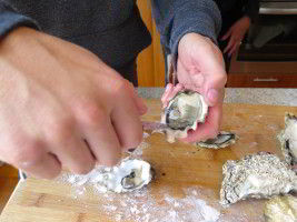 Oyster shucking at Cloudy Bay Beach House. These few are pacific oysters. We also tried an angasi oyster.