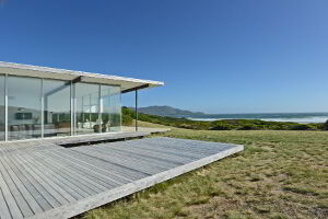 Cloudy Bay Beach House with large glass windows allows amazing views towards the southern Ocean