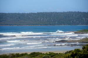 View of the surf at Middle Bay at Cloudy Bay, Tasmania