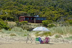 The cabin is right on the shores of the beach