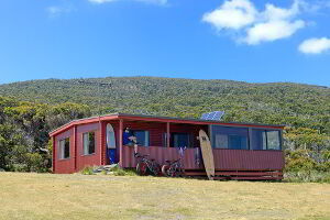 External view of Cloudy Bay Cabin, Bruny Island