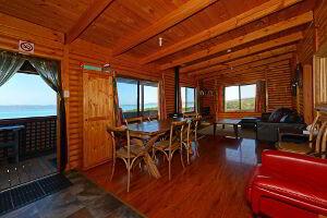 Inside the log cabin