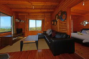 Comfortable lounge area inside the cabin