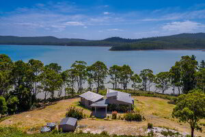 Aerial view of Cloudy Bay Lagoon Estate, Bruny Island