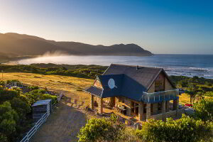 Exterior view of Cloudy Bay Villa, Bruny Island looking towards East Cloudy Bay Headland
