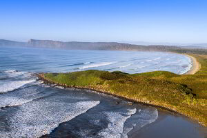 A photo of Middle Bay surf break next to whalebone point. A favourite surfing spot on Bruny Island, Tasmania
