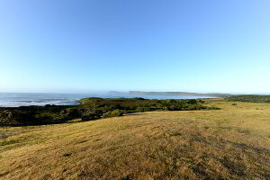Scenic ocean views of Bruny Island at Cloudy Bay Villa with acres of open grassed area for children to play