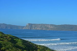 The sea cliffs on Bruny Island are some of Australia's tallest. Viewed from the Villa at Cloudy Bay