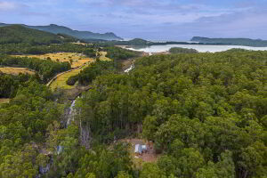 Wide overhead panoramic view showing Saintys Creek Cottage nestled in old growth eucalypt forest