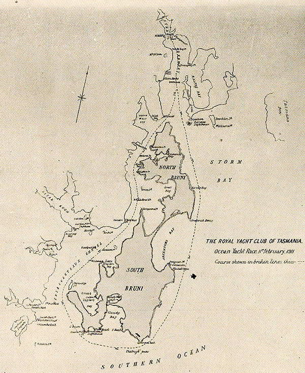Map of ocean race course in 1911