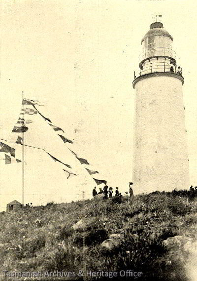 Old photo of Cape Bruny Lighthouse taken in December 1912
