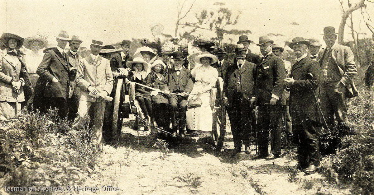 His Excellency the Governor, Members of the Hobart Marine Board, Mayor of Hobart and others on the road to the lighthouse