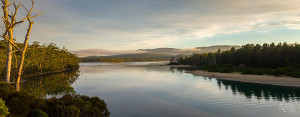 Unpolluted calm waters reflecting the sky at Bruny Island