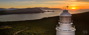 Spectacular view of Bruny Island Lighthouse at sunrise. Australia's second oldest extant lighthouse