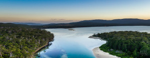 The beautiful natural waters, beaches and forests of Bruny Island can be seen in this wonderful photo