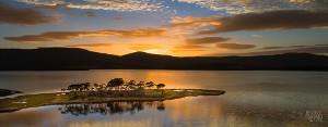 Reflections of Cloudy Bay Lagoon at sunrise
