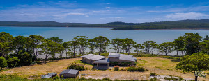 Aerial view of Cloudy Bay Lagoon Estate holiday accommodation
