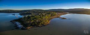 Aerial shot of Cloudy Bay Lagoon and Saintys Creek