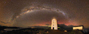 Milky Way over Bruny Island Lighthouse. Photo by Rod Hartvigsen