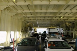 Cars inside the Bruny Island Ferry, Mirambeena.