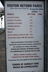 Fares for using the Bruny Island Ferry are charged for the return trip.