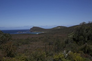 Distant view of Cape Bruny and the lighthouse