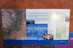 Cape Bruny sign at lighthouse