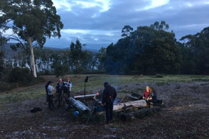Johanna Griggs and Karen Martini and their team from Better Homes and Gardens filming by the fire at Bruny Island Lodge
