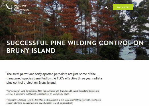 Screenshot Tasmanian Land Conservancy Article'