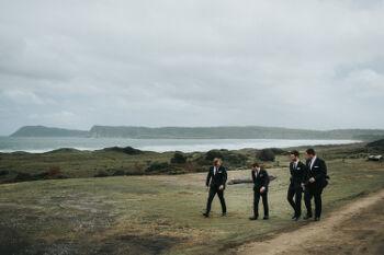 Josh and groomsmen at Cloudy Bay