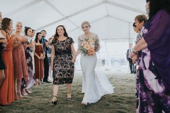The bride walks in