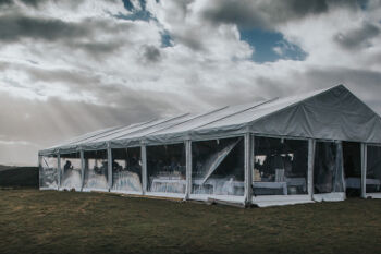 Marquee set up at Cloudy Bay